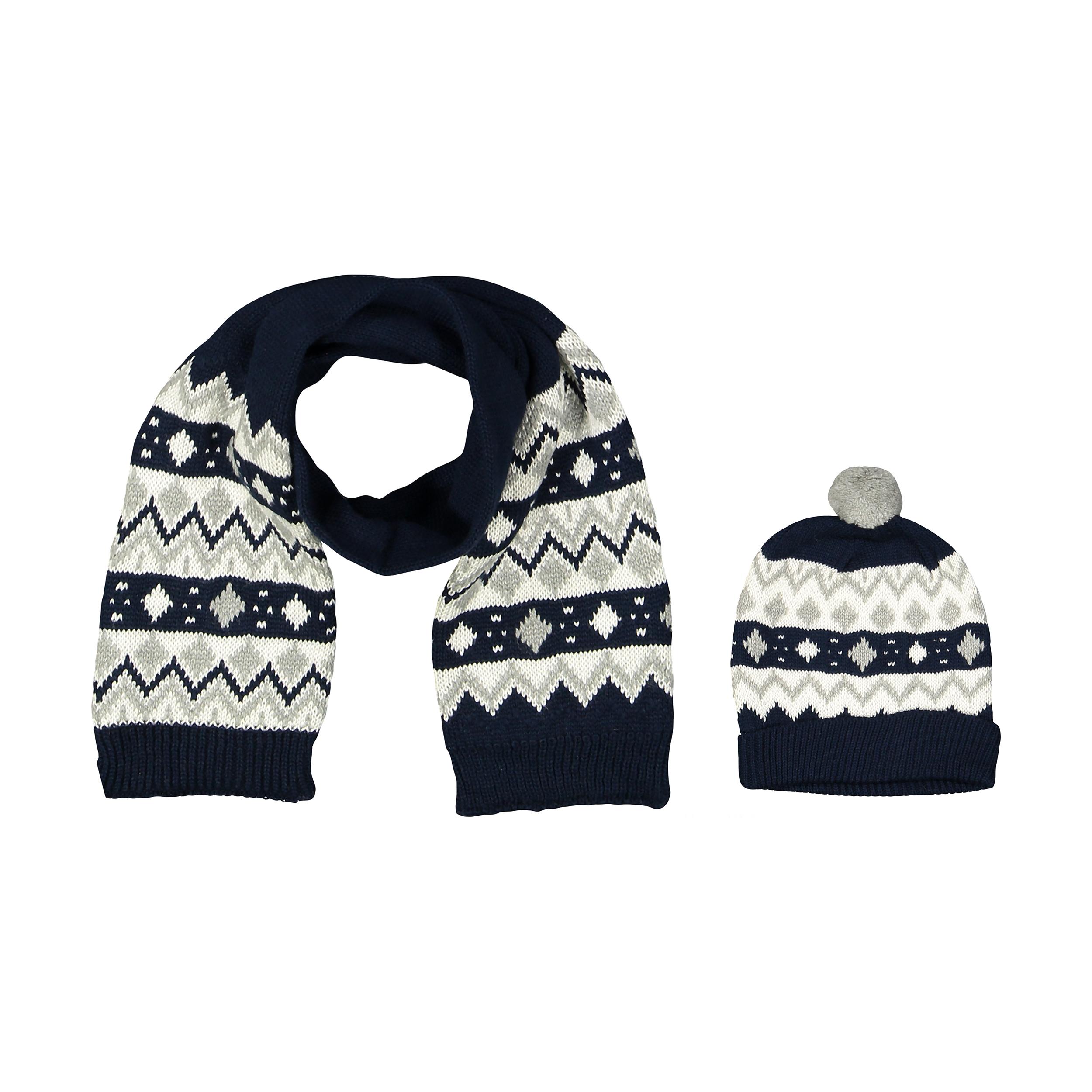 ست کلاه و شال گردن بافتنی نوزادی پسرانه فیورلا کد 2799