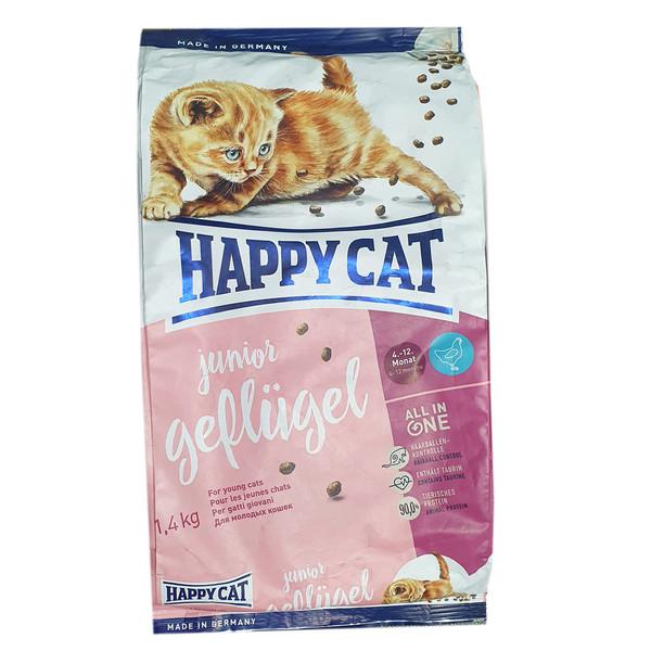 غذای خشک گربه هپی کت مدل JuniorGefliigel وزن 1400گرم
