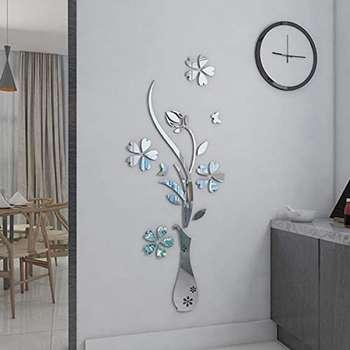 آینه پلکسی گلس مدل گل و گلدان
