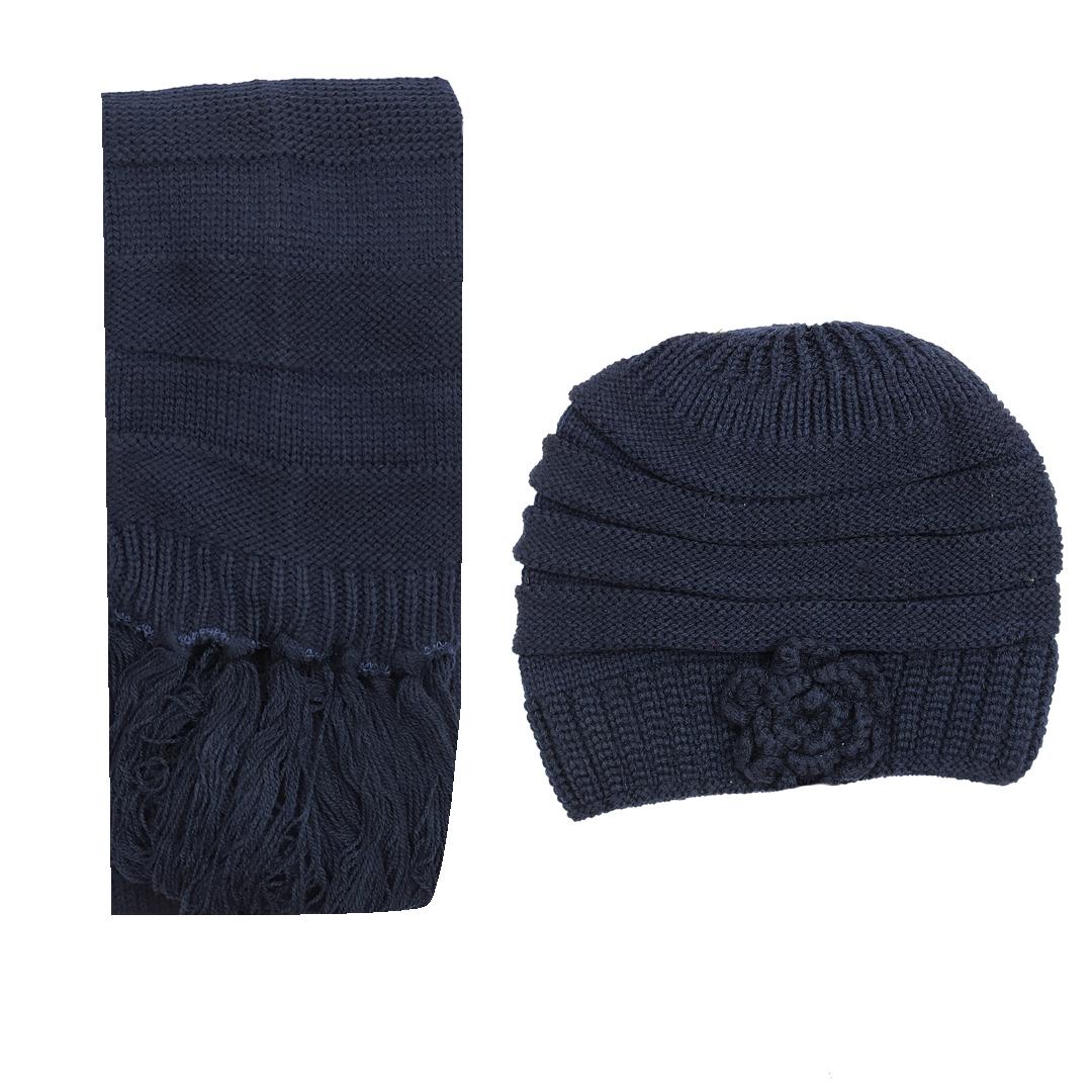 ست کلاه و شال بافتنی زنانه کد 122