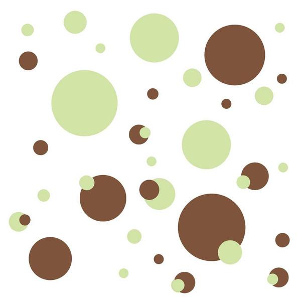 استیکر رومیت مدل Just Dots Green Brown Peel And Stick Wall Decals