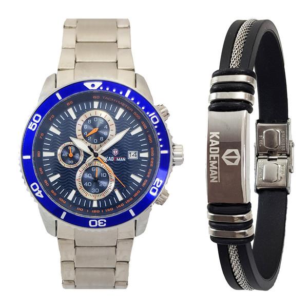 ست دستبند و ساعت مچی عقربه ای مردانه کیدمن کد TW01