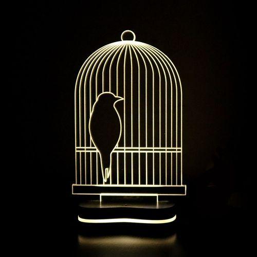 چراغ خواب سه بعدی گالری دکوماس طرح قفس پرنده کد DMS143