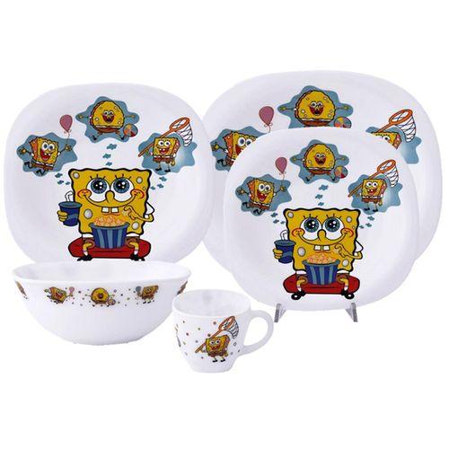 سرویس غذاخوری 5 پارچه کودک پارس اوپال طرح Sponge Bob