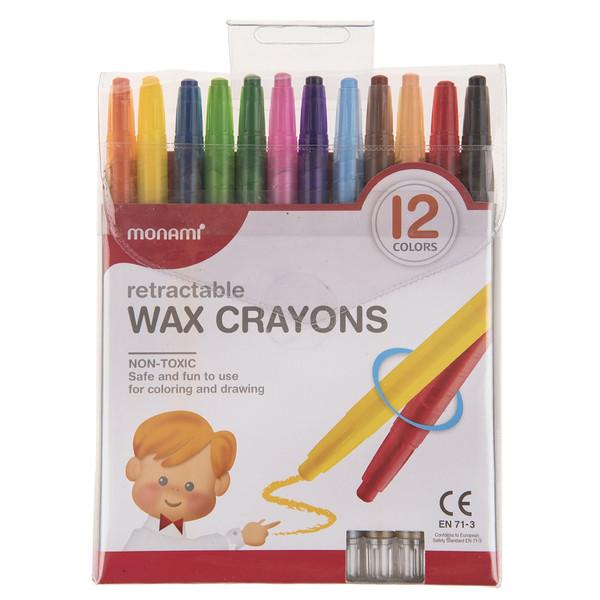 مداد شمعی 12 رنگ مونامی مدل Retractable
