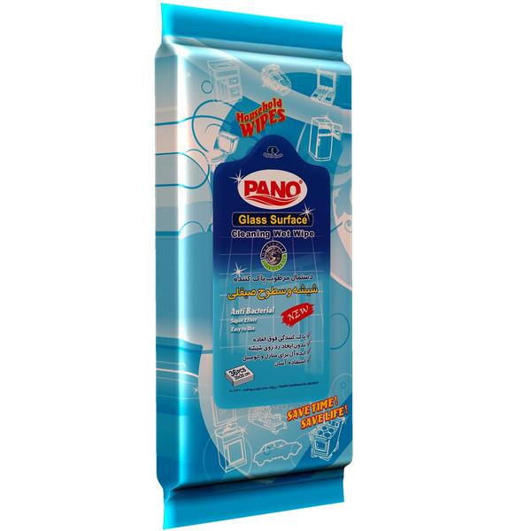 دستمال مرطوب پانو مخصوص شیشه و سطوح صیقلی بسته 36 عددی