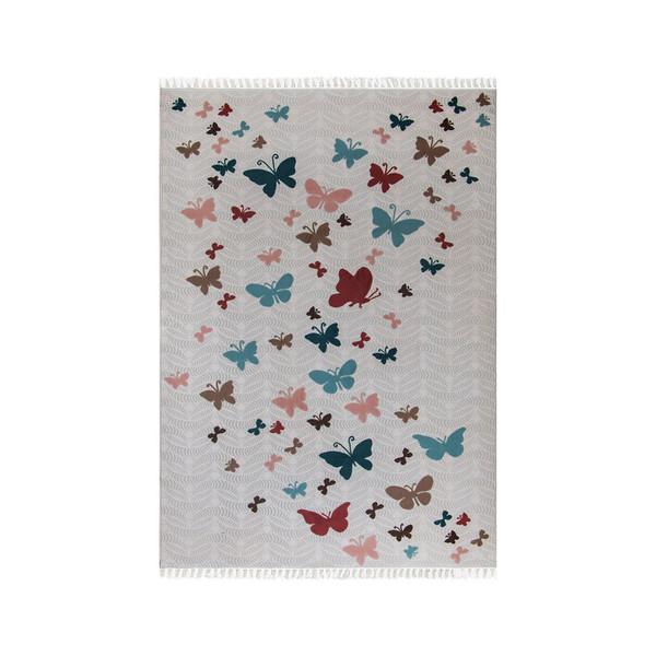 فرش ماشینی شاهکار مشهد طرح پروانه 24 زمینه رنگی