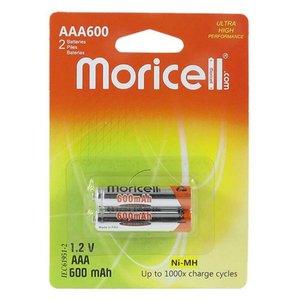 باتری نیم قلمی قابل شارژ موری سل مدل AAA600 ظرفیت 600 میلی آمپرساعت بسته 2 عددی