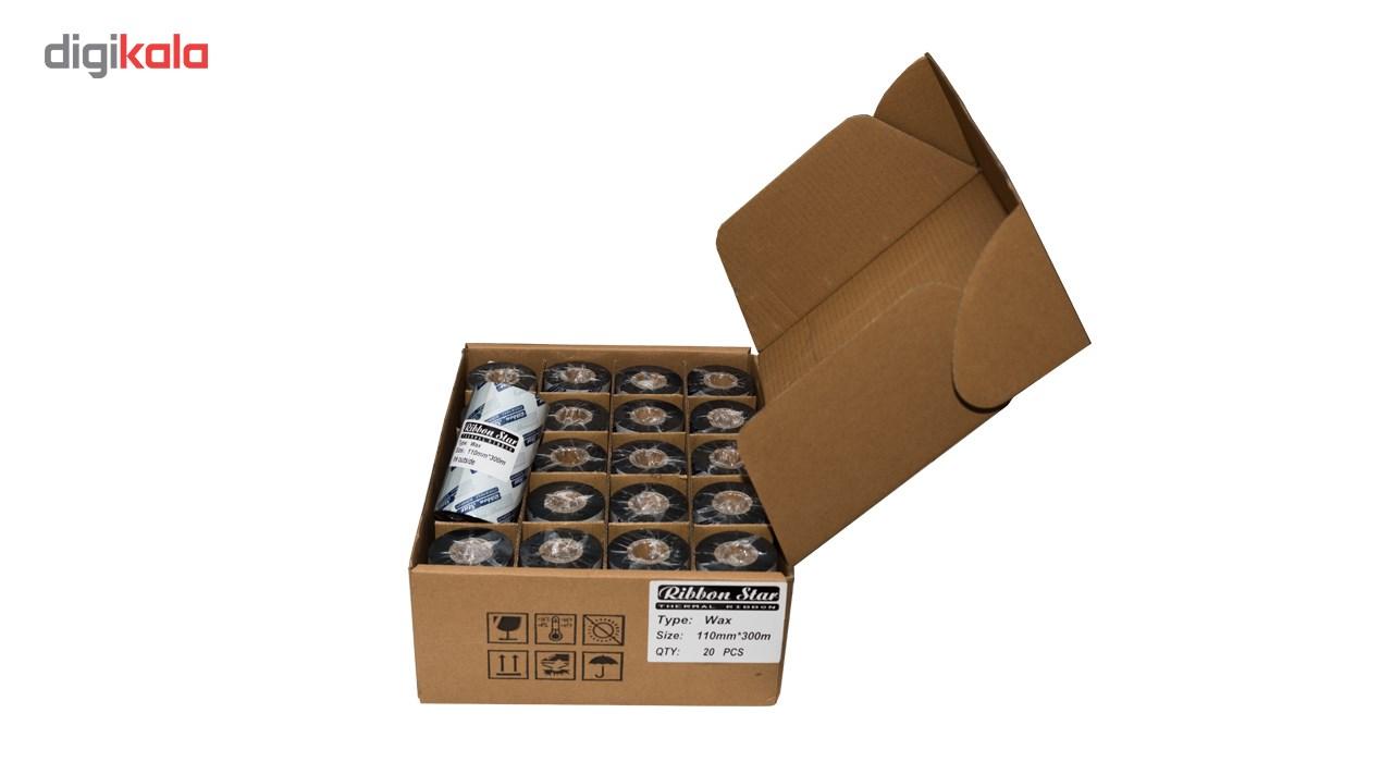 قیمت                      ریبون پرینتر لیبل زن حرارتی مدل 110mmx300M WAX بسته 20 عددی