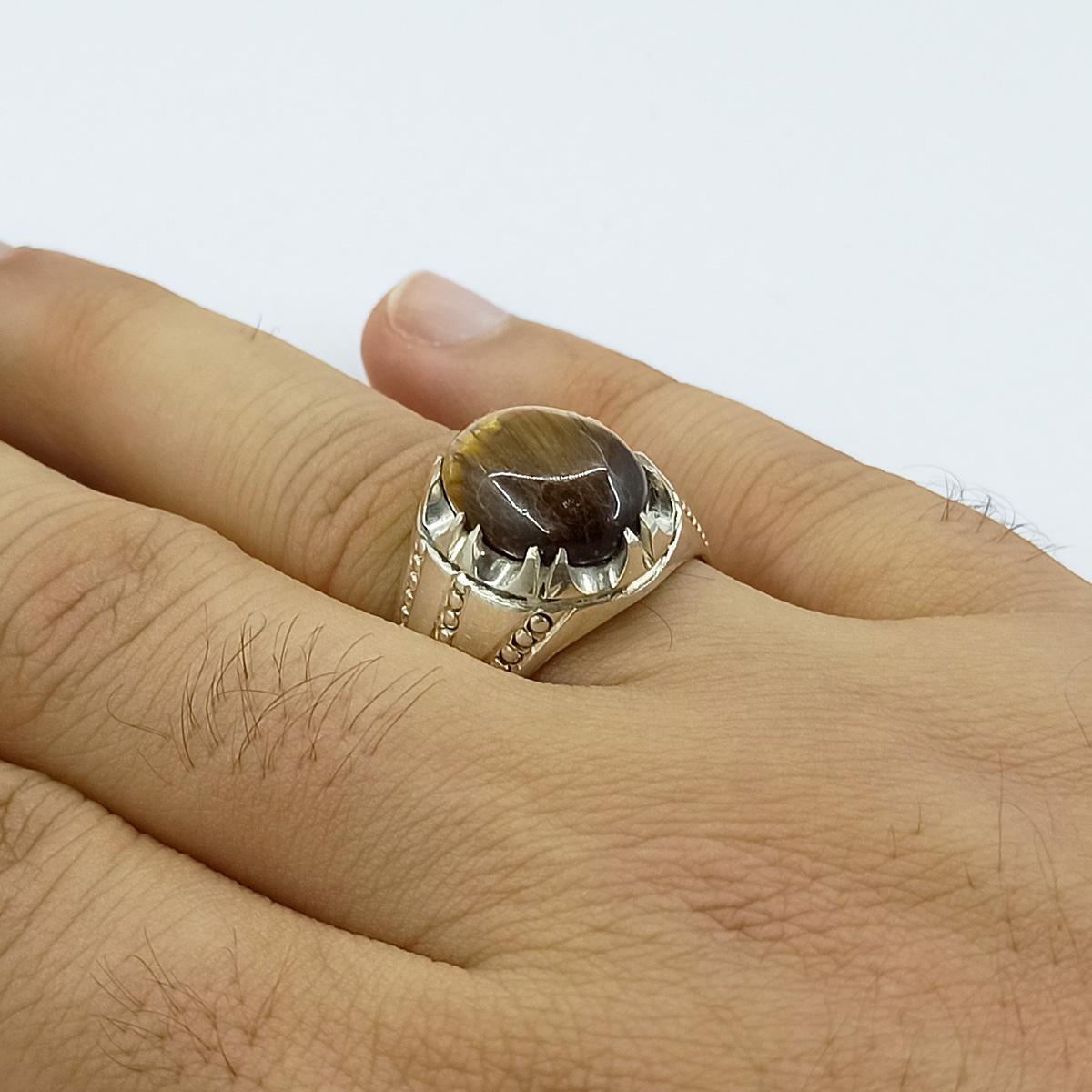 انگشتر نقره مردانه سلین کالا مدل چشم ببر کد ce-As18