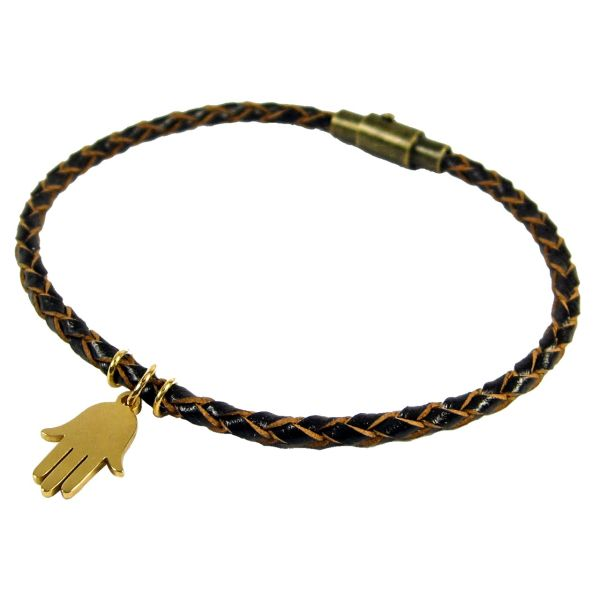 دستبند چرم طبیعی حامد گالری طرح بافت آویز دار مدل bl4031