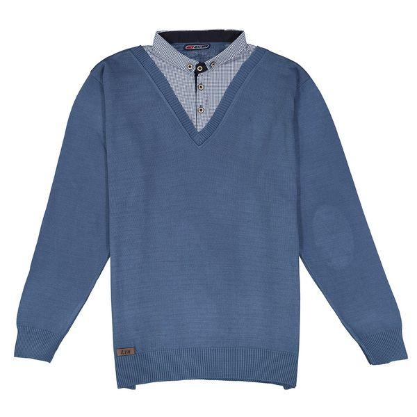 بلوز بافت مردانه ال تی بی طرح یقه پیراهنی آبی 164