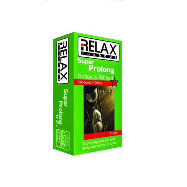 کاندوم ریلکس مدل SUPER PROLONG DOTTED RIBED کد R31 بسته 12 عددی