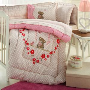 سرویس لحاف 8 تکه خواب نوزاد ازدیلک سری رنفورس گلدوزی و تکه دوزی طرح Heart bear