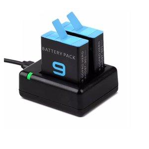 شارژر باتری دوربین مدل H-9 مناسب برای دوربین ورزشی گوپرو Hero 9 به همراه 2 عدد باتری لیتیومی قابل شارژ