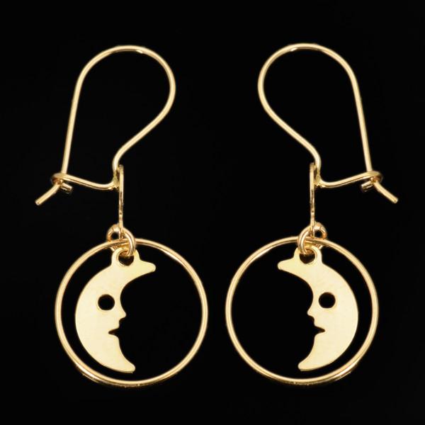 گوشواره طلا 18 عیار دخترانه طلای مستجابی مدل ماه کد 73