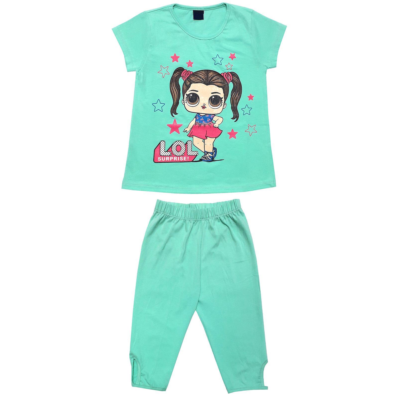 ست تی شرت و شلوارک دخترانه طرح LOL کد 1404 -  - 2