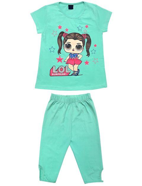 ست تی شرت و شلوارک دخترانه طرح LOL کد 1404