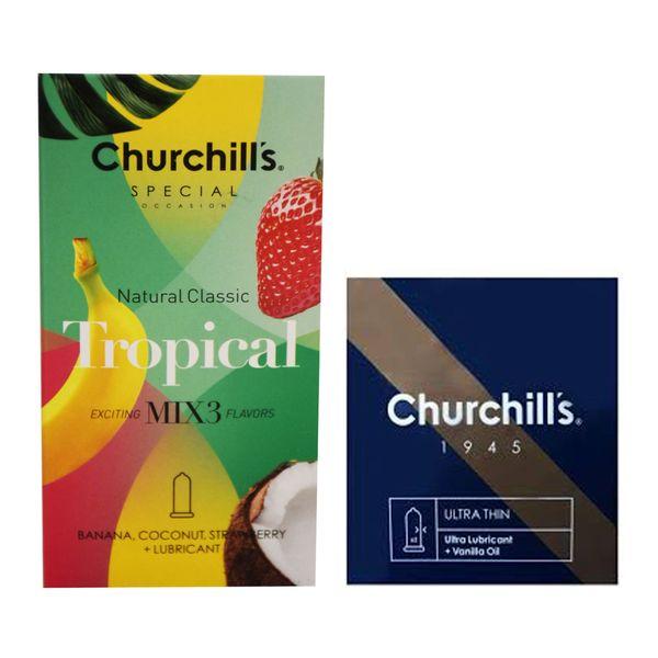 کاندوم چرچیلز مدل Tropical بسته 12 عددی به همراه کاندوم چرچیلز مدل Ultra Lubricant بسته 3 عددی
