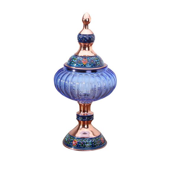 شکلات خوری پایه دار مس و پرداز رنگ آبی تیره  طرح آبگینه  مدل 1001200032
