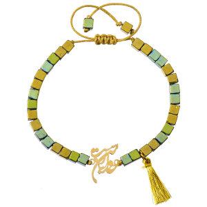 دستبند طلا 18 عیار دخترانه کرابو طرح خدا با من است مدل Krd1024
