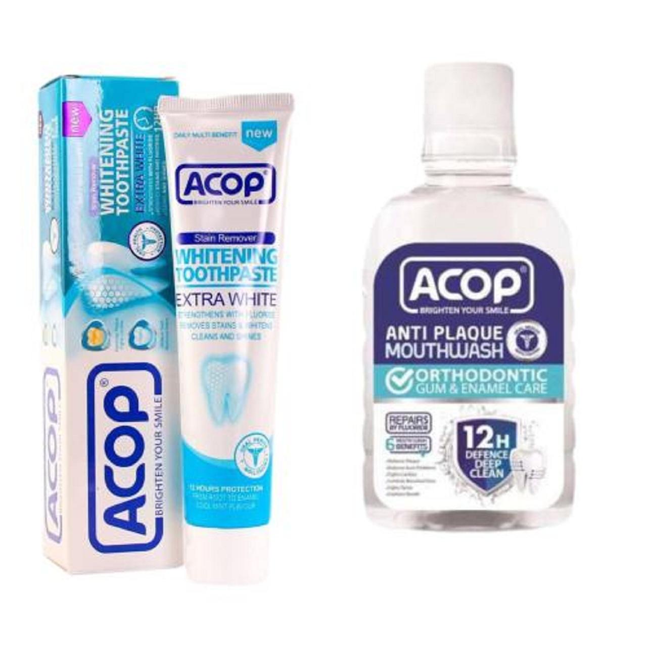 دهان شویه آکوپ مدل آنتی پلاک حجم 300 میلی لیتر به همراه خمیر دندان آکوپ مدل سفید کننده حجم 90 میلی لیتر