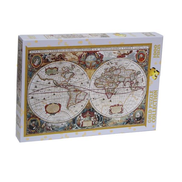 پازل 1000 تکه گلد پازل طرح نقشه جهان کد 60096