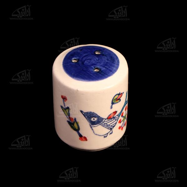 نمکدان سفالی نقاشی زیر لعابی  سفید طرح پرنده مدل 1007600005