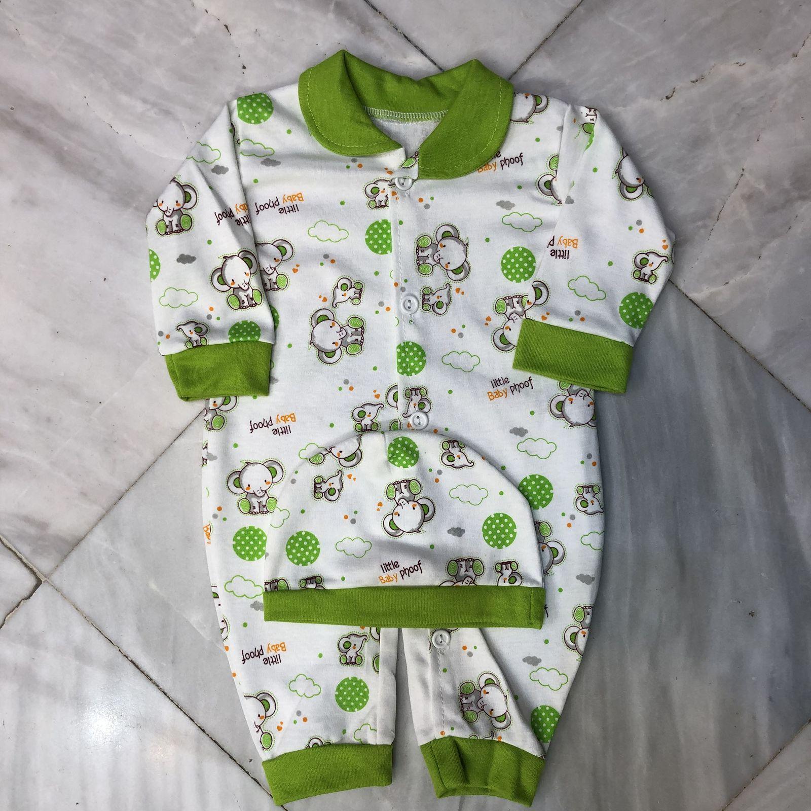 ست سرهمی و کلاه نوزادی مدل A&S7173 رنگ سبز -  - 3