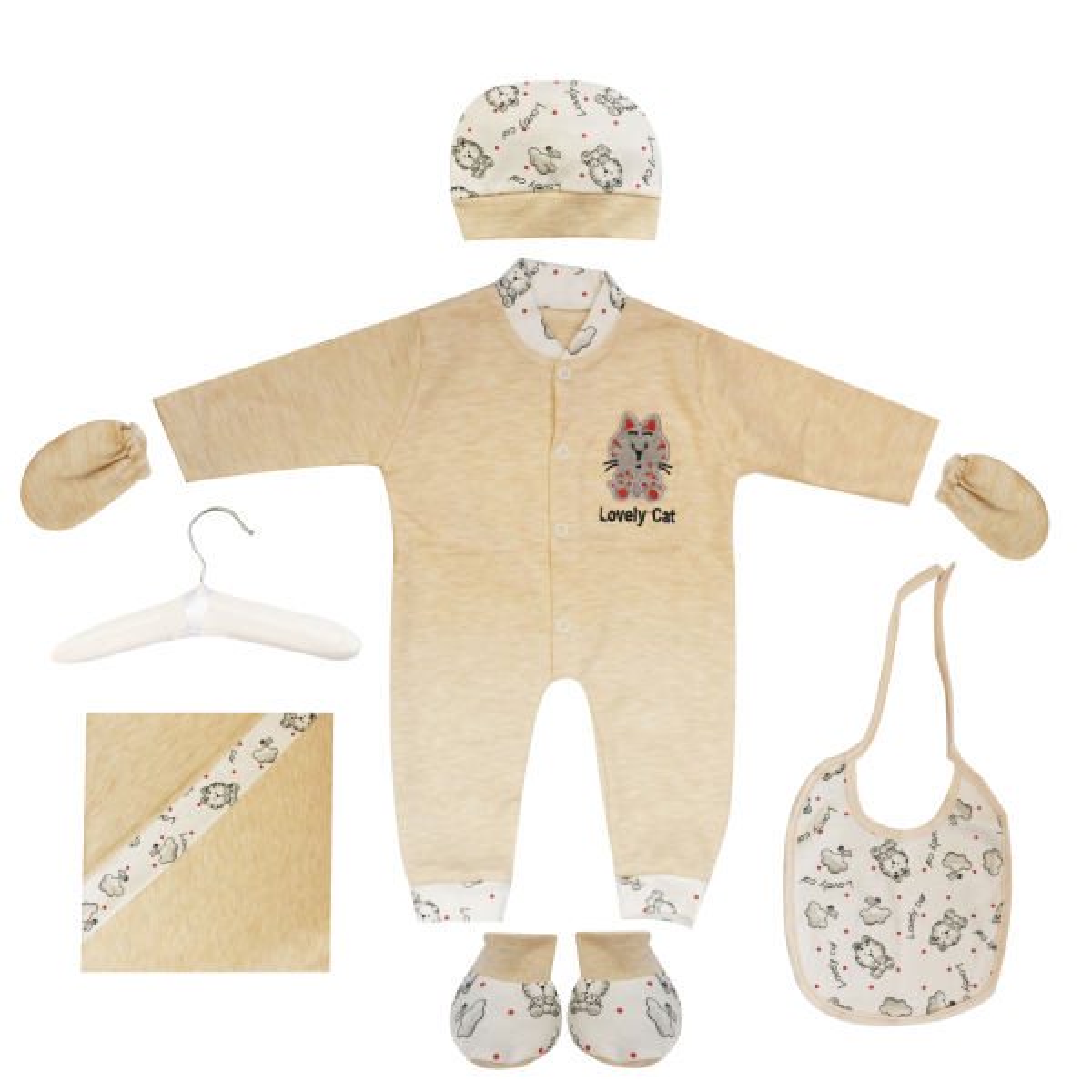 ست 7 تکه لباس نوزادی مادرکر طرح گربه کد M454.10