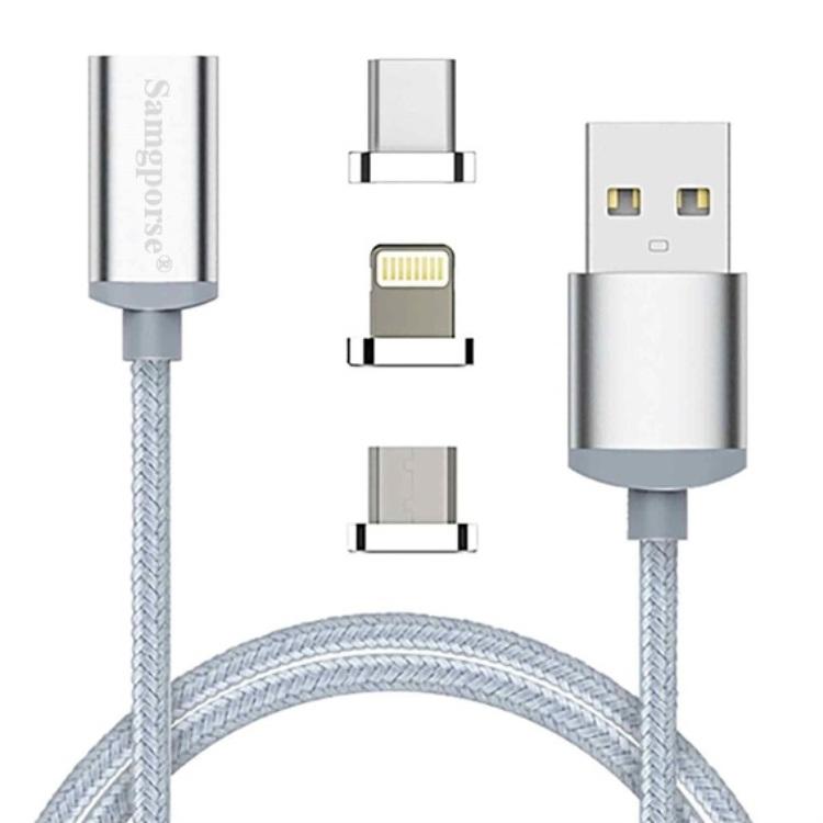 بررسی و {خرید با تخفیف} کابل تبدیل مغناطیسیUSB به microUSB / USB-C / لایتنینگ سمگپرس مدل S700 طول یک متر اصل