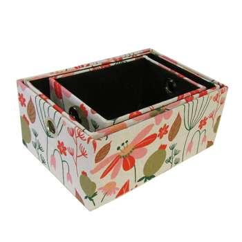 جعبه ارگانایزر هوم اند لایف مدل ویلسون طرح گل و برگ های رنگیمجموعه 3 عددی