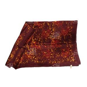 روسری ابریشمی باتیک قواره کوچک قهوه ای طرح باران مدل 1213100003