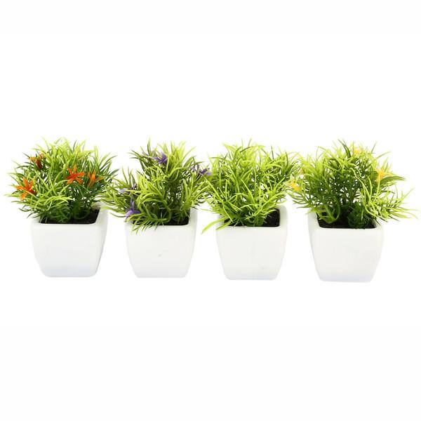 گلدان به همراه گل مصنوعی هومز طرح سبزه مدل 30214 مجموعه 4 عددی