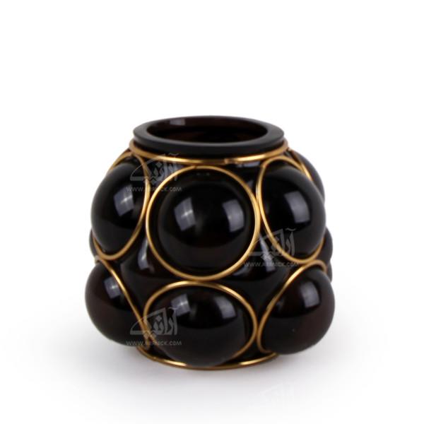 گلدان آبگینه قاب فلزی  بنفش طرح حباب مدل 1016100005
