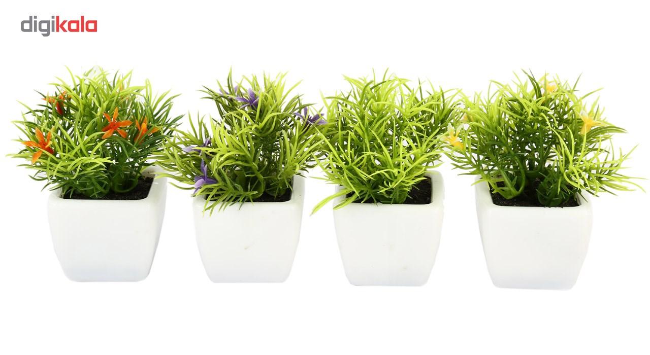 گلدان به همراه گل مصنوعی هومز طرح سبزه مدل 30214 مجموعه 4 عددی main 1 1