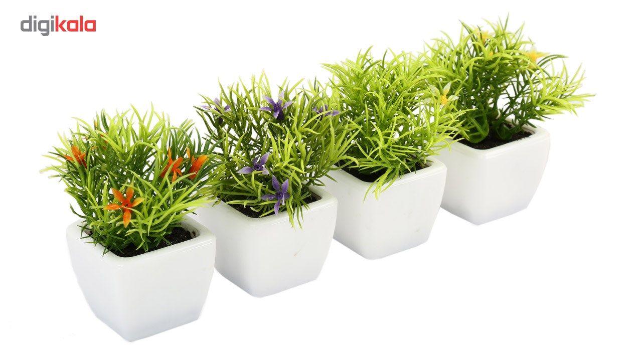 گلدان به همراه گل مصنوعی هومز طرح سبزه مدل 30214 مجموعه 4 عددی main 1 2