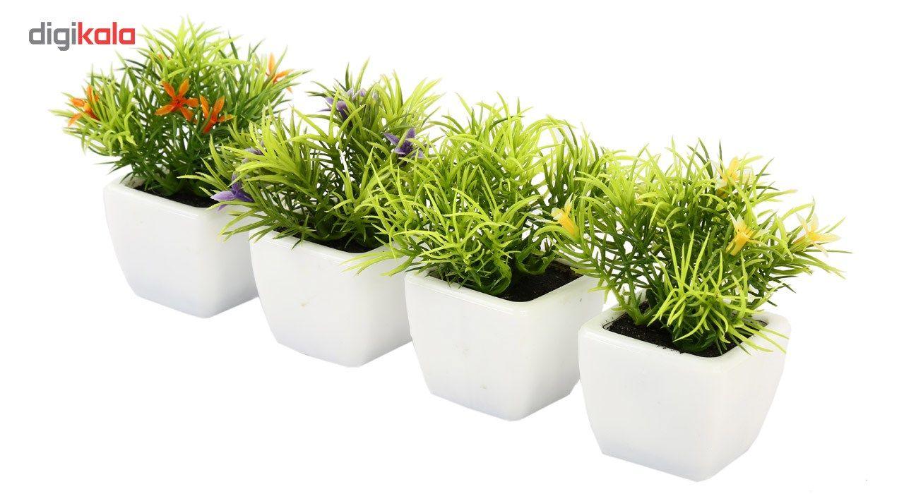 گلدان به همراه گل مصنوعی هومز طرح سبزه مدل 30214 مجموعه 4 عددی main 1 3