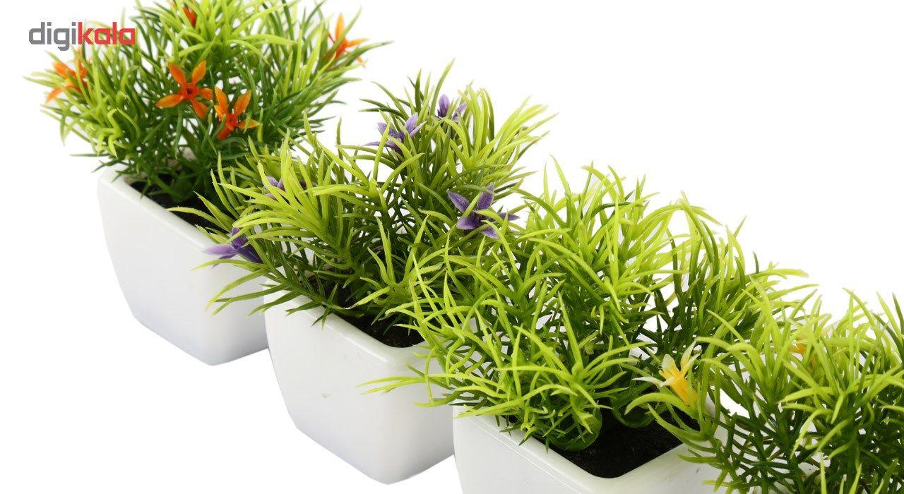 گلدان به همراه گل مصنوعی هومز طرح سبزه مدل 30214 مجموعه 4 عددی main 1 4
