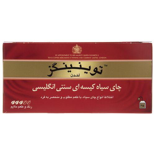 چای سیاه کیسه ای تویینینگز سنتی انگلیسی بسته 25 عددی