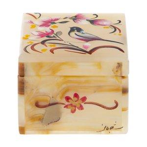 جعبه جواهرات سنگی طرح گل و مرغ مدل MR33