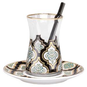 سرویس چای خوری 18 پارچه گلور گلس مدل 007