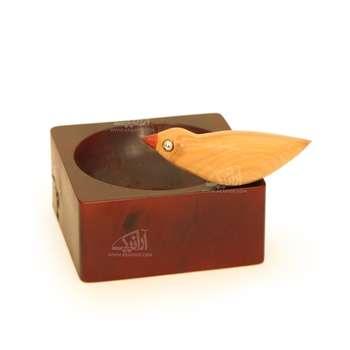 شکلات خوری چوبی رنگ زرشکی طرح پرنده  مدل 1001500012
