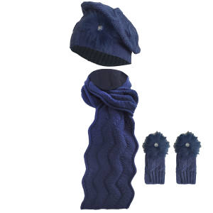 ست کلاه و شال گردن و دستکش بافتنی زنانه سام مدل 120
