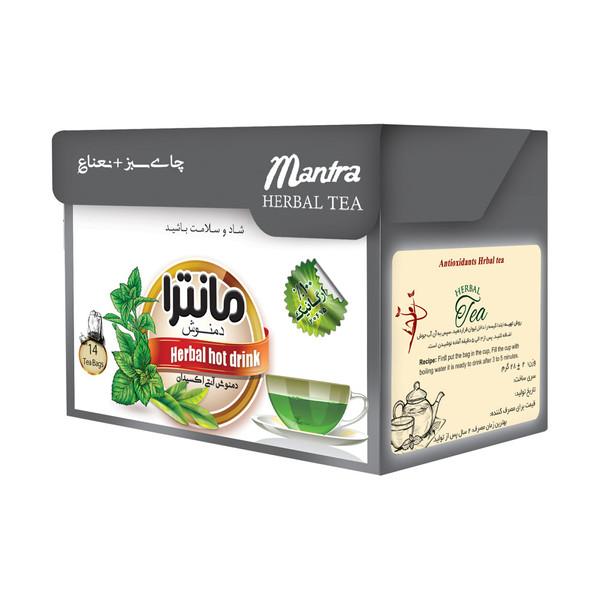 دمنوش چای سبز و نعناع مانترا بسته 14 عددی
