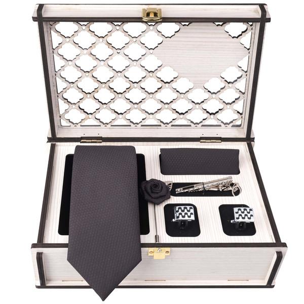 ست کراوات و دستمال جیب و دکمه سردستو گیره مو مردانه جیان فرانکو روسی مدل GF-PO1160-BOX