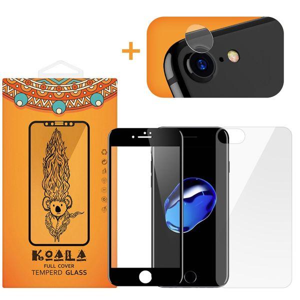محافظ صفحه نمایش شیشه ای کوالا مدل Full Cover مناسب برای گوشی موبایل اپل آیفون 7 به همراه محافظ پشت Tempered و محافظ لنز دوربین