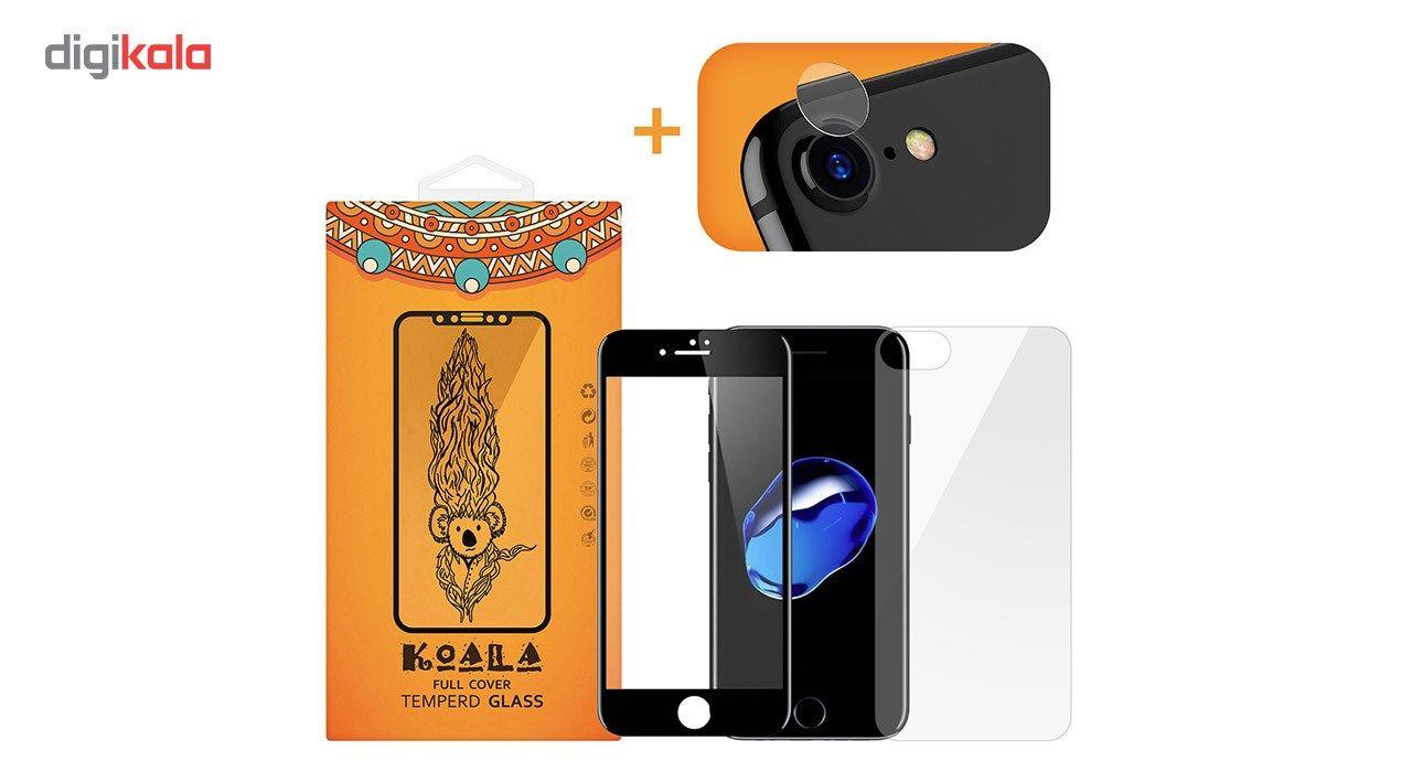 محافظ صفحه نمایش شیشه ای کوالا مدل Full Cover مناسب برای گوشی موبایل اپل آیفون 7 به همراه محافظ پشت Tempered و محافظ لنز دوربین main 1 1