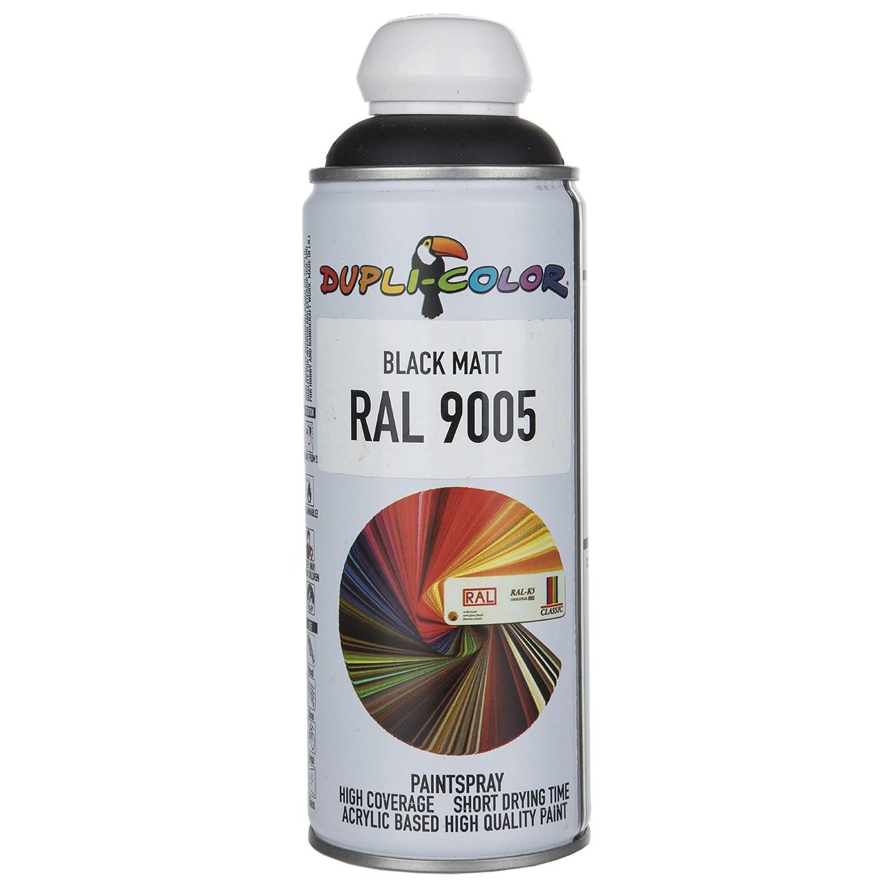 اسپری رنگ مشکی مات دوپلی کالر مدل RAL 9005 حجم 400 میلی لیتر