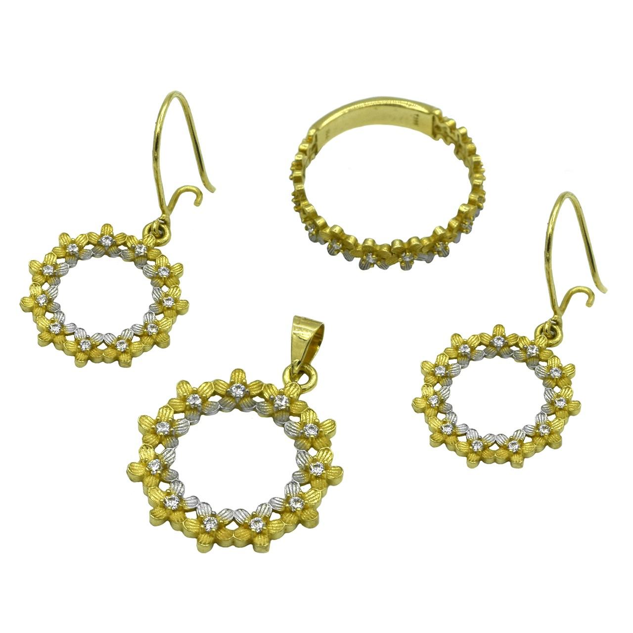 ست طلا 18 عیار جواهری سون مدل 1842